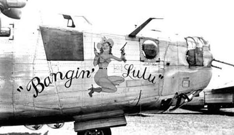 """Bangin' Lulu"" - B-24H 42-51091, 492nd BG, 446th BG. This pistol-packin' pin-up was quite rare, being a fully-clothed Vargas Girl. #WWII"