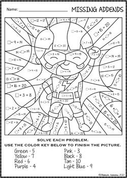 Color By Number Missing Addends Super Hero Themed Math Worksheets Math Fact Worksheets Math Coloring Math Coloring Worksheets