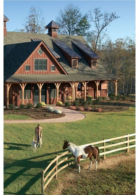 magnificent post-and-beam barn, multiple pastures with shelters, and a riding arena and pen.