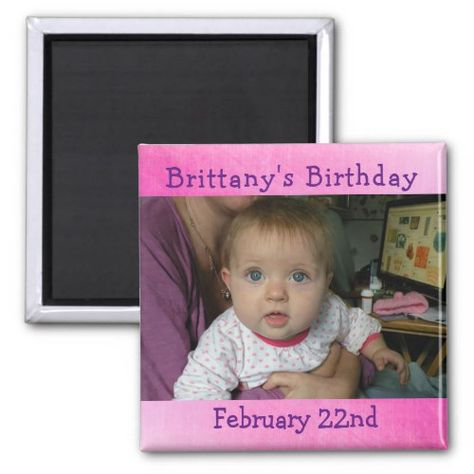 Personalized Pink Birthday Reminder Magnet