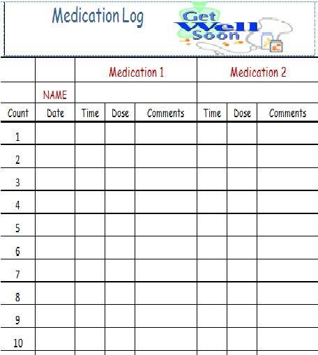 Medicine Log Sheet