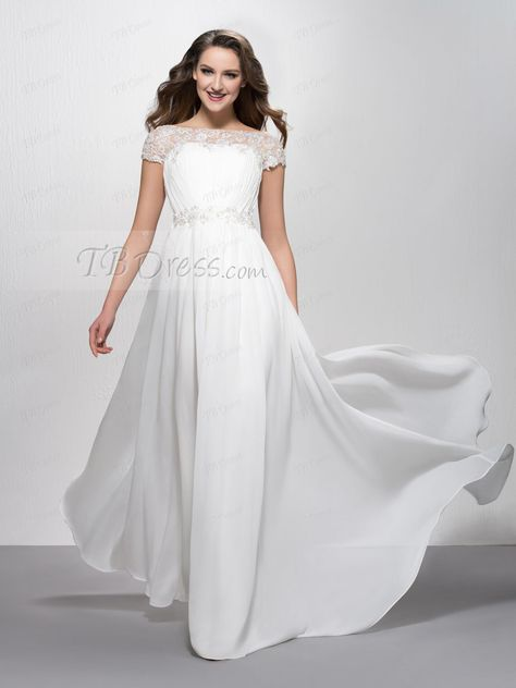 6a5c3038fd43 Fancy Appliques Bateau Neckline Court Train Short Sleeves Floor-Length  Evening Dress