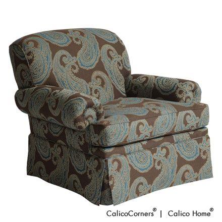 Rosamond's Chair in Hallem/Jasperware. Image: Calico Corners. #decorative_fabric #custom_furniture #brown #blue #paisley