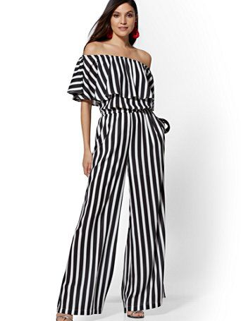 Shop 7th Avenue - Black & White Stripe Off-The-Shoulder Jumpsuit. Find your  perfect size online at the best… | Fashion, Black white jumpsuit, Modest  fashion outfits