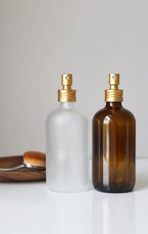 Apothecary Frosted Glass Mist Bottle With Gold Aluminum Mist