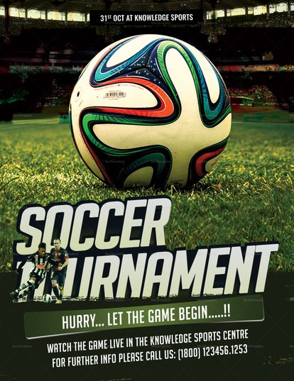 Soccer Tournament Flyer Design Sepak Bola Gambar