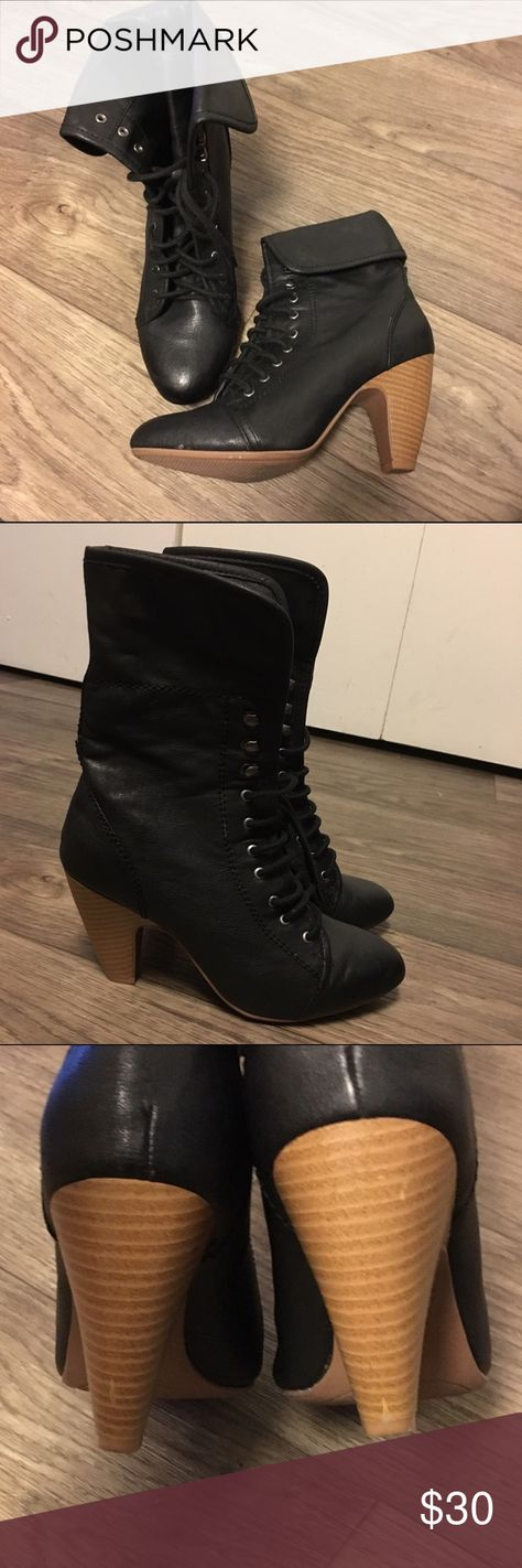 Almond toe Ankle Boots Super cute lace up ankle boot with a cuff, can be worn open or folded. Heel is about 3 1/2 - 4 inches. Barely worn but has a few scuffs on the heels. Great for autumn quipid Shoes Ankle Boots & Booties