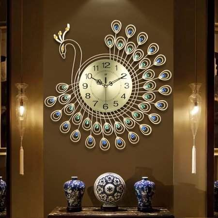 21 Inch Non Ticking Silent 3d Large Wall Clock Luxury Diamonds Gold Peacock Creative Decorative Metal Gift For Office Kitchen Bedroom Living Room Decoration Gol Wall Clock Luxury Clock Wall Decor Metal Wall Clock