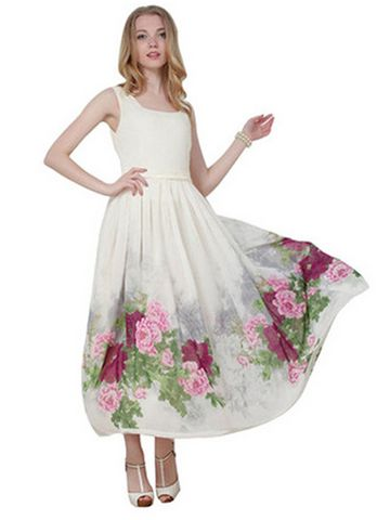 Square Neck Floral Maxi Chiffon Tank Dress