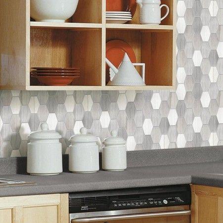 Shop Oblong Hexagon Tile Peel And Stick Backsplashes Metallic