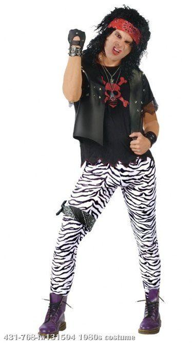 ADULT ROCK STAR MENS ONE SIZE 1980s GLAM ROCKER OUTFIT FANCY DRESS