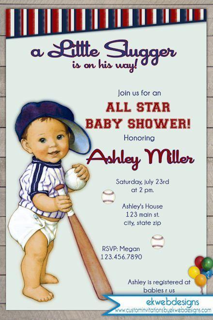 Vintage Little Slugger Baseball Baby Shower Invitation