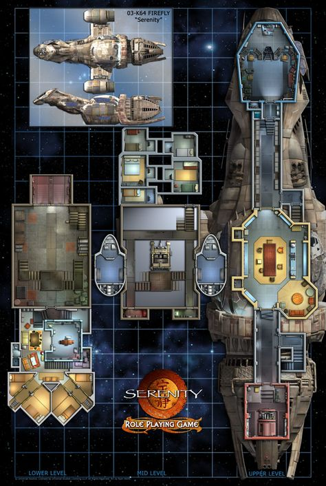 Deckplans of the Serenity Serenity Ship, Firefly Serenity, Spaceship Interior, Spaceship Design, Star Wars Rpg, Star Wars Ships, Star Trek, Firefly Ship, Firefly Art