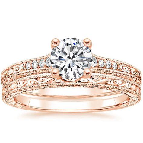 Lab Created Luxe Hudson Vintage Inspired Diamond Bridal Set 14k Rose Gold Setting Price Lab Created Diamond Rings Rose Gold Engagement Ring Styles