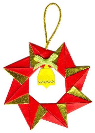 사용한 종이 크리스마스 화환 5 8cm 5 8cm 양면 금은 색종이 종 3cm 3cm 단면 색종이 조립 방법 종 Christmas Origami Origami Stars Origami Wreath