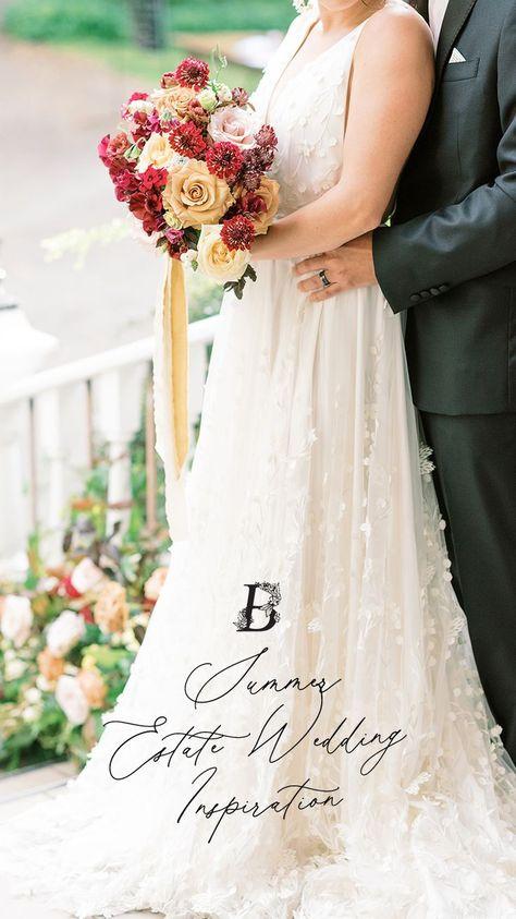Enchanting Estate Wedding - featured on the Brontë Bride Blog #estateweddinginspiration #summerwedding #redbouquet #berrybouquet #floralinstallation #bridalbouquet #weddingcolourscheme
