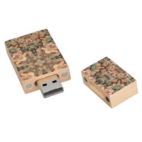 Seaside Stone Treasures Fractal Wood USB Memory Stick