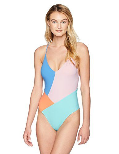 Nanette Lepore Women S Color Block Strappy Back One Piece Swimsuit Multi Medium One Piece Swim Shirts For Women Women Swimsuits