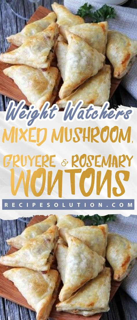 Mixed Mushroom, Gruyere and Rosemary Wontons - Recipe SOLUTION -1 SMARTPOINTS -   The road to healthy eating is easy with these Healthicious recipes, makes it easy and enjoyable to eat well and feel great than ever before to stay on track with your HEALTHY ( including breakfasts, lunches, dinners and snacks, nutrition advice you can trust, shopping tips) goals.  #mixed #mushroom #gruyere #and #rosemary #wontons #RecipeSOLUTION #HealthyMeals #Recipes #mealplanning #US #Canada #UnitedStates #UK #A