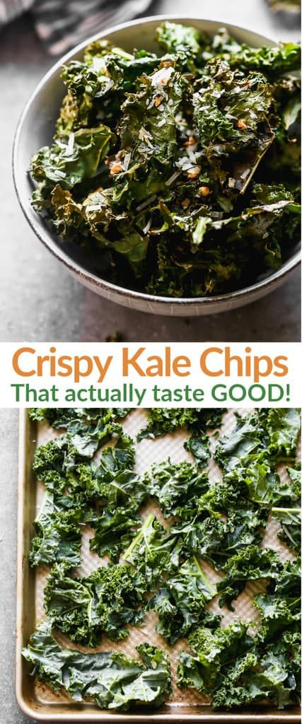 A healthy Kale Chips recipe made with garlic and parmesan seasoned kale that s baked in the oven Kale Chips are a fast healthy and fun snack via betrfromscratch Chips Kale, Healthy Kale Chips, Yummy Healthy Snacks, Healthy Eating, Healthy Recipes, Chips Chips, Baked Kale Chips, Delicious Recipes, Healthy Foods