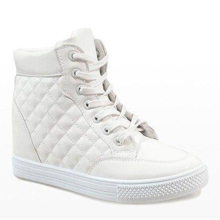 Biale Sneakersy Na Koturnie Pikowane Dd478 2 White Wedge Sneakers Wedge Sneakers White Sneakers