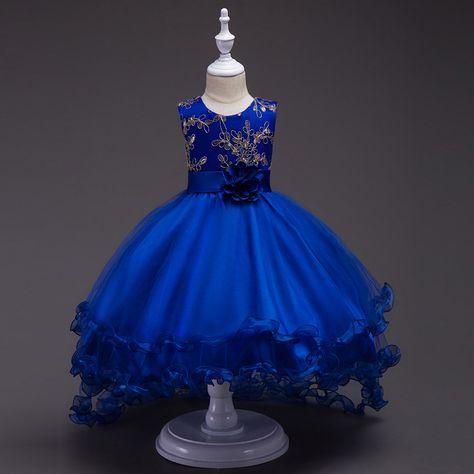 f73c33eec 4-14 Años Niñas Cenicienta Tizón volantes vestidos Princesa Vestidos de  Traje de Flores del Vestido del tutú Vestidos de Cumpleaños de La Boda