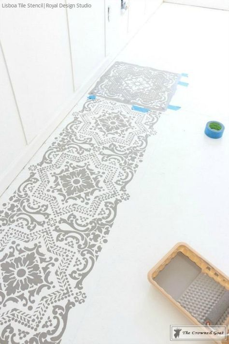 How To Prep And Stencil A Concrete Floor With Images Paint