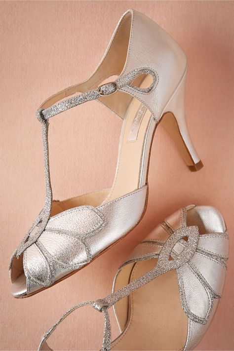 Glittered Mimosa T-Straps in Bride Bridal Shoes at BHLDN