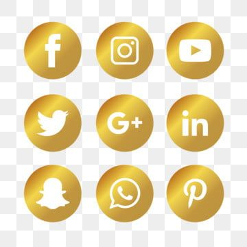 Golden Social Media Icons Set Social Icons Media Icons Social Media Png And Vector With Transparent Background For Free Download Social Media Icons Social Icons Media Icon