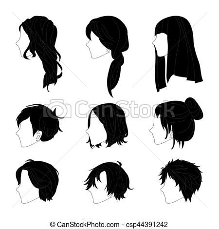 Collection Hairstyle Side View For Man And Woman Hair Drawing Set Vector Stock Illustration Royalty Free Girl Hair Drawing How To Draw Hair Boy Hair Drawing