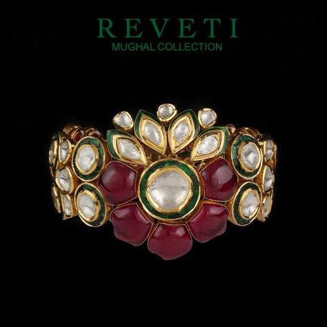 Reveti's Mughal Collection of the Maharaja's has been inspired by India's royal past, bringing you designs that will make you feel like royalty #reveti #revetijewelsinc #revetijewels #jewelry #fashion #diamonds #gold #reveticollection #revetimughalcollection #bracelet #cuff #jewelrygram #jewelryoftheday #worldofreveti #ootd #bling #trendy #beautiful #fashionista #stylish #instajewelry #accessorize #love #mughal #polki #jewelrylover #jewelryoftheday #royalty #royal