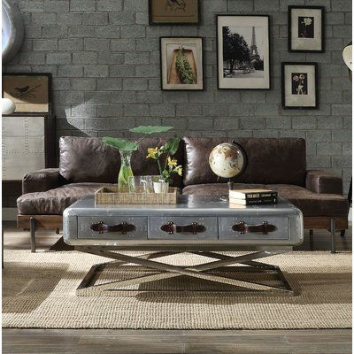 Greyleigh Pakswith Genuine Leather 94 68 Recessed Arm Sofa Leather Coffee Table Aluminum Coffee Table Coffee Table