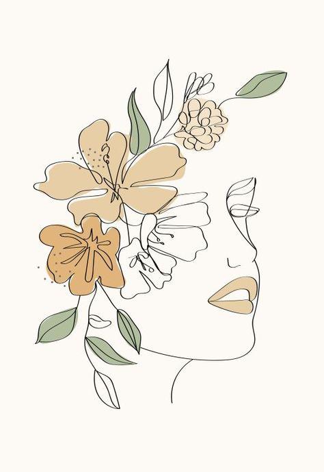 Modern minimalist woman face one line art