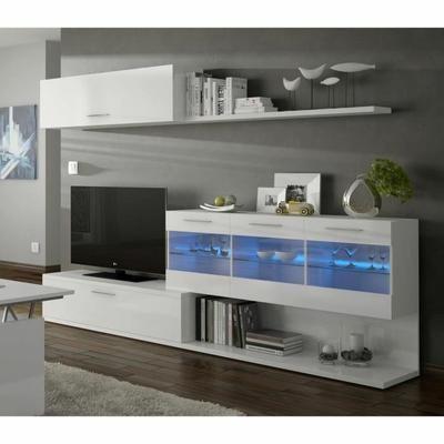 détaillant en ligne cf478 1d3ee ARAL Meuble TV mural 260 cm blanc brillant + LED - Achat ...