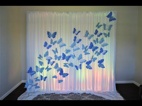 Outlines For Realistic Lovely Quinceanera Party Decorations Programs - Lelo Lelo Butterfly Party Decorations, Butterfly Birthday Party, Quince Decorations, Butterfly Baby Shower, Birthday Party Decorations, Backdrop Butterfly, Butterfly Theme Room, Diy Birthday Backdrop, Butterfly Centerpieces