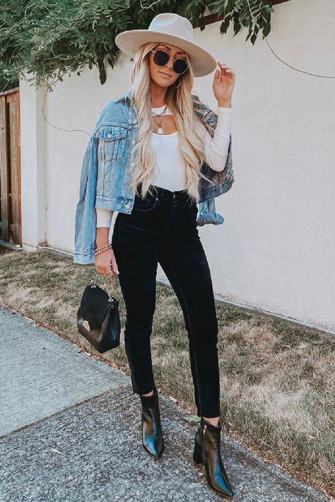 Get ready for cooler weather with Lulus perfect layered staples. This cute fall outfit is perfect for the season ahead. Style this elevated white long sleeve shirt with with a denim jacket and black booties for a cute transitional look. #lovelulus