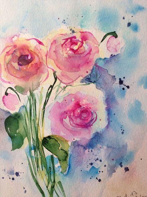 Original Aquarell Aquarellmalerei Bild Kunst Rosen Blumen