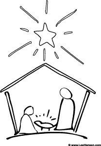 Simple Christmas #Nativity #coloring page, printable sheet for personal use.