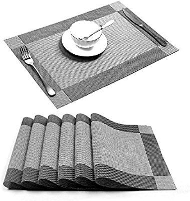 Amazon Com Placemat U Artlines Crossweave Woven Vinyl Non Slip Insulation Placemat Washable Table Mats Set Of 6 6pcs Diy Table Settings Diy Decor Table Mats