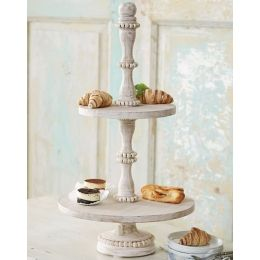 Beaded Wood Tiered Server Wood Tiered Stand Tiered Stand Tiered Server