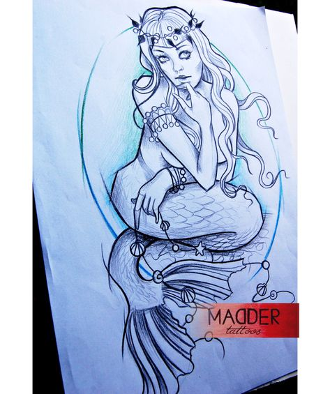 Mermaid tattoo on sketch (on paper) art by Lena Madder,  #Art #Lena #Madder #Mermaid #octopus...