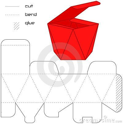 Template Present Box Red Cut Square  Paper    Box