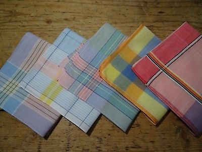 3 X LADIES 100/% COTTON CHECK AND STRIPE HANKIES HANDKERCHIEFS SCALLOP EDGE 12/""