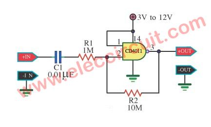 Linear x10 Amplifier by 4011 Gate – Electronic projects circuits ...