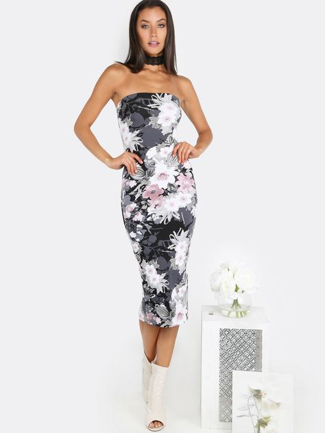14d6617663 Online shopping for Floral Tube Top Midi Dress BLACK from a great selection  of women s fashion clothing   more at MakeMeChic.COM.