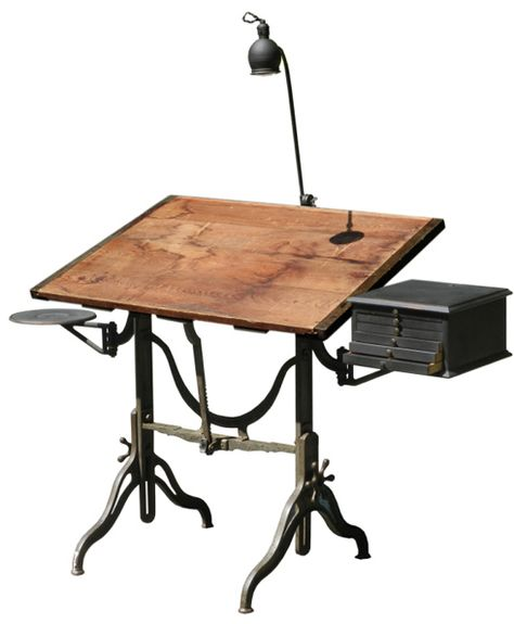 1930s Oak And Cast Iron Adjustable Drafting Table And Oak Angle. Love The  Mechanical Details. W: 42 X D: 31½ X H: 33 41 In. | Pinterest | Iron,  Vintage Indu2026