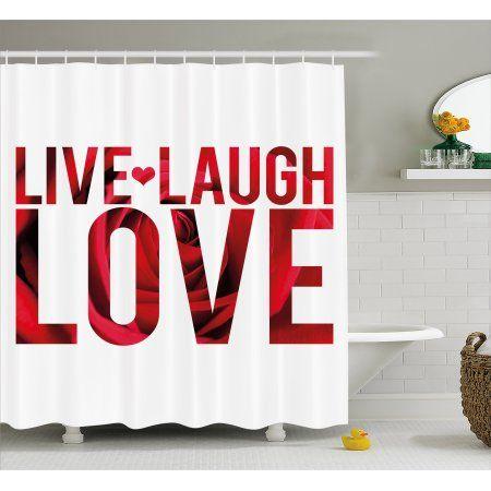 Live Laugh Love Printed Shower Curtain Shower Curtain Bathroom