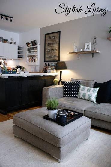 Hier ein kleiner Einblick in unseren offenen Wohnbereich mit Küche ...