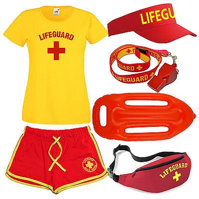 Details about Womens 'Lifeguard +' Costume Fancy Dress Set