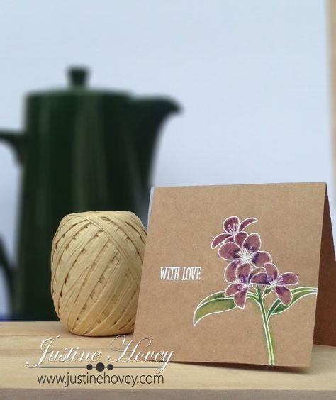 card of kraft ... one layer ... white embossed flower stem with watercolor look coloring ... great look on kraft ... luv it!